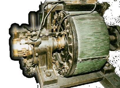 Das Foto zeigt den ersten von FAH entwickelten und gebauten Drehstrommotor