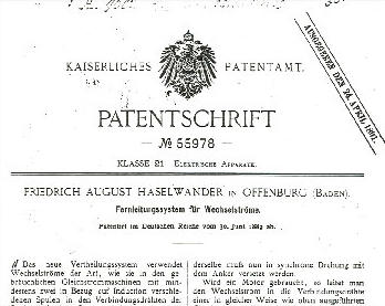 Das Foto zeigt die Patentschrift auf das Drehstromsystem